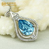 Hot selling import china products , 100% pure 925 sterling silver crystal pendant charm oval shaped jewelry online wholesale