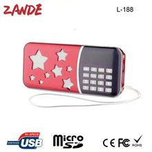 Portable Digital FM/AM radio speaker support TF Card,USD Flash driver with 3.5cm jack high quality L-188