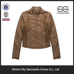 New Arrival Fashion Cheap Lady Leather Jacket Motorcycle