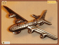 3D Airplane Shaped Metal Badge Lapel Pin with Butterfly Clutch