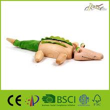 Crocodile Made of Wood Animal Shape for Kids Education Toy