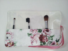 Emmie Ros makeup brush roll, rose fabric, white make up roll, cosmetic brush roll
