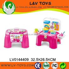 Hot-selling pretend play kitchen toy set,storage chair toy with light and music
