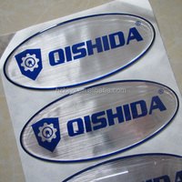 Brushed metallic silver epoxy resin sticker