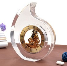 golden crystal mechanical table clock wedding souvenirs