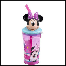 3D Drink Bottles Container Straw cartoon Mouse Pig Beaker Cup for kids,custom plastic beaker cup manufacturer