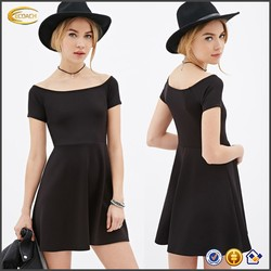 OEM wholesale fashion ladies stretch knit dress short sleeved Boat Neck Fit Flare sexy party club wear dress