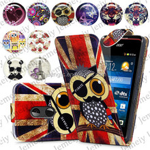 For Acer Liquid Z200 Folio Print Flip Leather Case Phone Bag Back Cover Bags