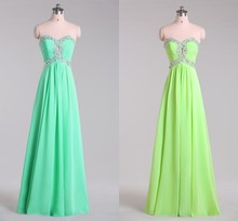 ADB-005 In Stock Beaded Empire Waist Chiffon Bridesmaid Dress