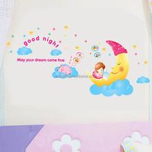 cartoon room adornment wall stickers DIY moon infant sleep preschool children room decoration AY1907