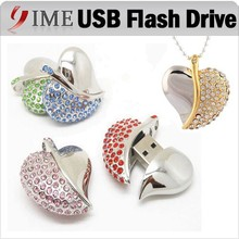 Hot Gift Jewelry Heart Shape USB Flash Drive Real Capacity 4gb 8gb 16gb 32gb 64gb USB Pen Drive Necklace Pendrive Usb Disk