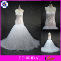 LN35 Gorgeous Crystal Beaded Embrodiery Bodice Trumpet Models China Supplier Real Sample Latest Wedding Gown Designs