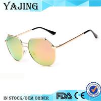 YAJING Wholesale 2015 Fashion Multicolor High Quality Metal Polarized Pilot Sunglasses
