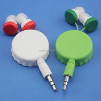 Hot sale low price! Dual retractable earphone Customized Stereo earbuds for sport In-ear earphone for all kinds of mobile phones