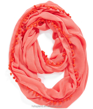 new pattern women's 100% polyester solid infinity scarf with pom poms