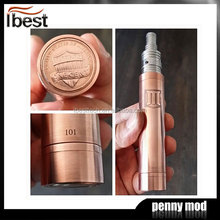 IBEST 2014 Hot Wholesale High Quality Electronic Cigarette Mechanical mod Red Copper Penny Mod Battery Powered Fan