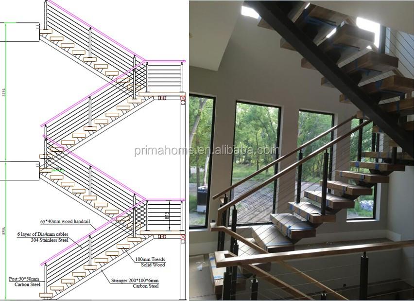 Bois en acier l 39 int rieur escalier design avec garde corps en verre pou - Forme escalier interieur ...