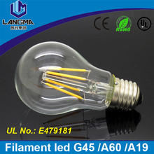 Langma indoor household A60 globe lamp clear glass energy saving filament led light low price and moq 3w to 12w led bulb e27