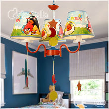 zhongshan lighting Bird pattern fabric pvc lamp shade kids LED pendant light/chandelier with 3 lamps