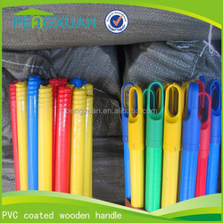 Good quality pvc cover wood broom stick for indoor cleaning