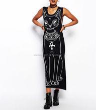CHEFON Sacred cat print maxi long dresses 2014