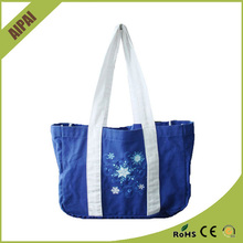 Spanish style blue canvas bag OEM Factory Zippered tote beach bags