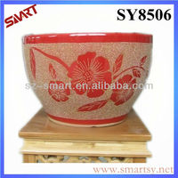 Red glazed with golden glass sand design luxury plant pots