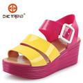 2015 Señoritas Sandalias de cuña romano coloridas zapatos gelatina colores conjunto zapatos plástico zapatos Melissa