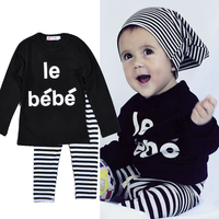 Letter Le be be baby boys winter clothes set for girs autumn black long sleeve t shirt + striped pants cotton kids clothing