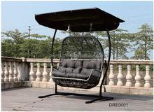 Hotel Garden Plastic Rattan/Wicker Outdoor Double Seats Hanging Chair