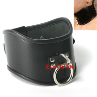 Leather Posture Collar With O Metal Ring Slave Collar Restraint Sex Toys For Men Leather Padded Bondage Collar Ring Adult Games