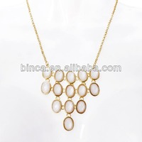 Stock Necklaces Alloy Gold Choker Necklaces with Oval Resins White A617
