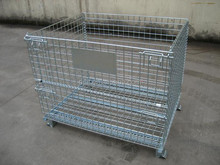 High quality warehouse foldable steel storage wire mesh cage with PVC coated