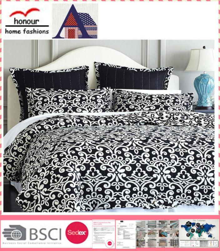 2015 noir et blanc classique motif imprim couette couvre for Couvre couette
