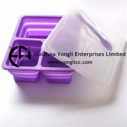 Silicone Collapsible Take Away BPA Free Bento Lunch Box with Dividers