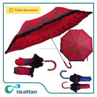PU leather handle aluminum frame foldable parasol umbrella with lace
