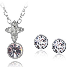 Free Shipping Swarovski Element Crystal Cheap Cross Wholesale Jewellery Set