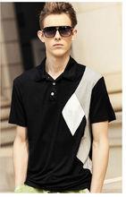 Slim fit estilo llano teñido blanco de cuello negro camisa para hombre vestido