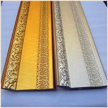 Wholesale Bulk Carving Troditional pattern 24k Gold Skirting Line Decorative Plastic Construction Ps Frame Moulding