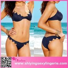 2015 sexy girl bikini swimwear models Blue Jagged italian swimwear women bikini