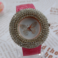 2015 Hot Sale Fashion Butterfly Lady Flower Watches Women Watch Vintage Pu Leather Dress Strap Watches