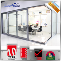 AS2047 Australia standard tempered glass aluminium sliding door with double glass