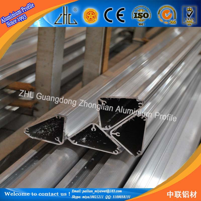 6000 séries de perfis de extrusão de alumínio de forma triangular/Custom v slot de perfil de extrusão/triângulo tubo de perfil de alumínio