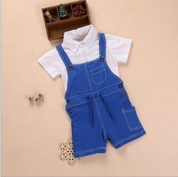 2015 SUMMER KIDS BOYS 100%COTTON CASUAL CLOTHES SETS,LITTLE BOYS POLO T-SHIRT AND SUSPENDER PANT 2-PIECE SETS