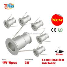 led mini downlight/ceiling led puck light/1w led mini spot cabinet light 6pcs per set