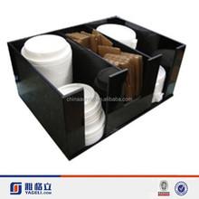 black acrylic squared condiment organizer,acrylic cup lid holder coffee cup organizer