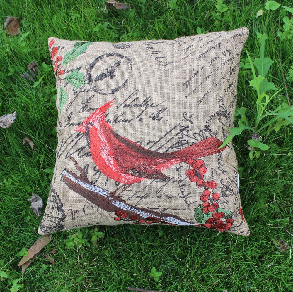 VEZO HOME embroidered red bird jute sofa cushions printed letters throw pillows seat chair home ...