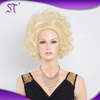 top quality women short blonde curly 3/4 wig for white people