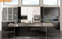Black high gloss lacquer finish kitchen cabinet with stainless steel countertop