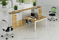 newest design hot sale two people seats half glass office screen workstation with shelf